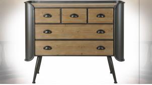 Commode à 5 tiroirs en bois finition naturelle et métal gris anthracite ambiance industrielle, 97cm