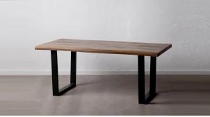 Table en bois et métal, finition naturelle et charbon noir, pieds carrés, 180cm