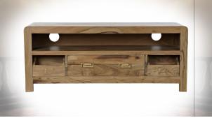 Meuble TV à 3 tiroirs en bois d'acacia finition naturelle ambiance chalet, 115cm