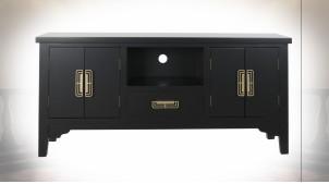 Meuble TV en bois finition noire et poignées dorées ambiance Japonaise, 120cm