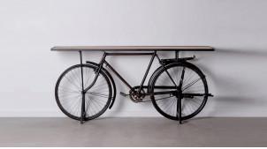 Grande console vélo ancien, plateau en manguier massif et encadrement noir charbon, 193cm