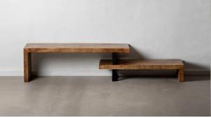 Meuble TV extensible en bois de manguier et acier noir charbon, max 200cm