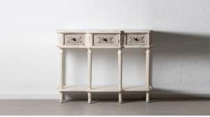 Console classique en bois sculpté, trois tiroirs et pieds tournés, finition blanc gris usé, 120cm