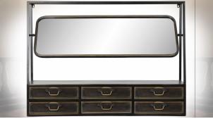 Miroir mural inclinable en métal finition noire et reflets cuivrés ambiance industrielle, 110cm