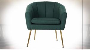 Fauteuil en polyester finition vert foncé et pieds en métal doré ambiance rétro, 82cm