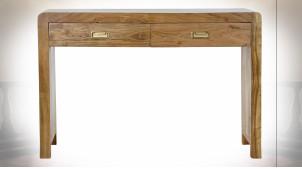 Console à 2 tiroirs en bois d'acacia finition naturelle ambiance chalet, 110cm
