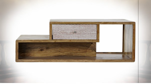 Table basse en bois d'acacia finition naturelle, formes géométriques blanches ambiance Boho, 118cm