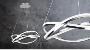 Suspension en aluminum chromé, forme de noeud ambiance design, éclairage led, Ø51cm