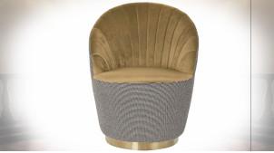 Fauteuil de style rétro en polyster noir et blanc, assise et dossier imitation velours finition jaune moutarde, 85cm