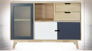 Buffet de style contemporain avec façades de portes blanche et bleu marine en bois finition naturelle, 120cm