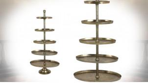 Etagère présentoir conique en métal, finition bronze antique, 5 plateaux ovales, 170cm
