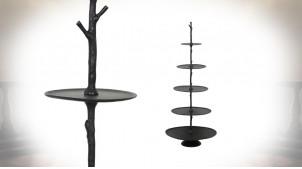 Etagère présentoir en métal à cinq plateaux finition charbon, forme conique avec effet tronc d'arbre central, 122cm