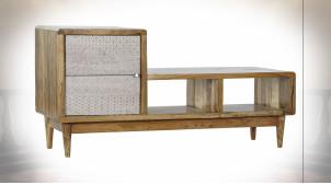 Meuble TV en bois d'acacia finition naturelle, motifs géométriques patinés blanc ambiance Boho, 125cm