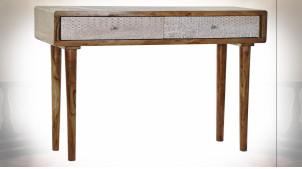 Console en bois d'acacia finition brun foncé, 2 tiroirs avec motifs de formes géométriqués patinées blanc esprit Boho, 118cm