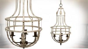 Lustre cage à quatre feux en métal finition crème effet vieillie, effet décapé, Ø43cm / 89cm
