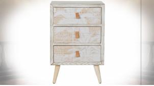 Meuble d'appoint en bois et bambou finition naturelle blanchie avec motifs de palmiers ambiance tropicale, 73.5cm