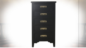 Chiffonnier à 5 tiroirs en bois finition noire et poignées dorées de style Japonais, 92cm