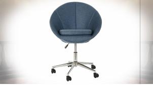 Chaise de bureau ajustable en polyester finition bleu, 89cm