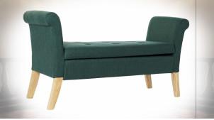 Bout de lit coffre en polyester finition vert sapin et pieds en bois courbé ambiance classique, 130cm