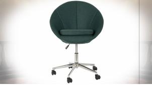 Chaise de bureau ajustable en polyester finition vert sapin esprit rétro, 84cm