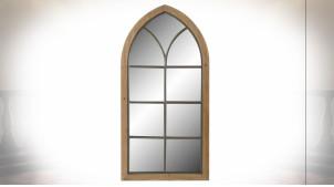 Grand miroir fenêtre de style rustique en bois finition naturelle vieillie, 135cm