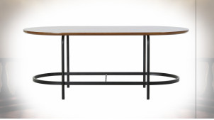 Table basse de forme ovale en métal et bois finition noire ambiance rétro, 99.5cm