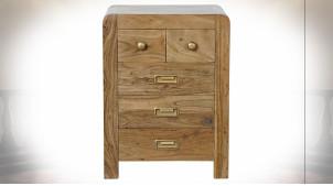 Table de chevet à 5 tiroirs en bois d'acacia finition naturelle ambiance chalet, 60cm