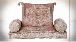 Gros coussin de sol en coton avec motifs fleuris très colorés ambiance orientale, 90cm