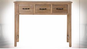 Console à 3 tiroirs en bois finition naturelle de style rustique, 100cm