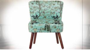Chaise en polyester finition bleu ciel et motifs d'arbres et de paons ambiance rétro, 77cm