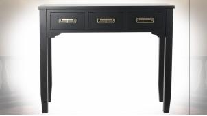 Console en bois finition noire, trois tiroirs avec poignées de portes dorée de style Japonais, 95cm