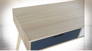 Console à 2 tiroirs en bois finition naturelle, façades de portes blanches et bleues ambiance  contemporaine, 100cm