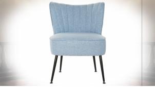 Chaise en polyester finition bleu ciel et pieds en métal noir esprit rétro, 74cm