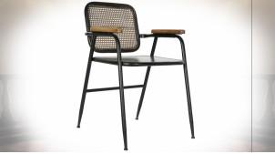 Chaise en métal finition noire, dossier esprit cannage de rotin couleur cuivrée ambiance industrielle rétro, 76cm