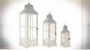 Série de 3 lanternes en bois de sapin finition naturelle blanchie ambiance campagne chic, 92cm