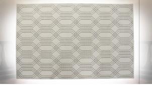 Grand tapis rectangulaire de style moderne en polyester finition gris clair et blanc, 290cm
