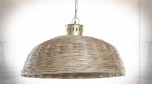 Suspension luminaire en osier finition naturelle ambiance tropicale, Ø74cm
