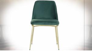 Chaise en velours couleur vert sapin et pieds en fer finition dorée ambiance rétro, 82cm