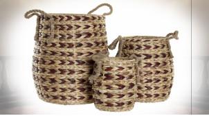 Série de 3 corbeilles en fibre végétale finition naturelle et rouge grenat ambiance tropicale, 48cm