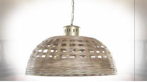 Suspension luminaire en osier ajouré finition naturelle de style tropical, Ø72cm