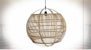 Suspension luminaire de forme sphérique en bambou finition naturelle ambiance tropicale, Ø55.5cm