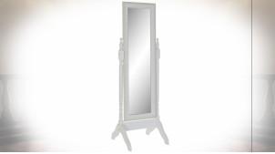 Miroir psyché en bois finition blanc et gris clair ambiance campagne chic, 156cm