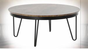 Table basse en métal noir et plateau en bois finition brun foncé ambiance contemporaine, Ø78cm