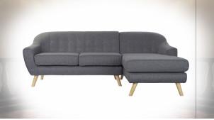 Canapé 3 personnes en polyester finition gris foncé de style contemporain, 230cm