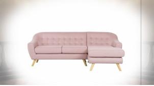 Canapé 3 places de style contemporain en polyester finition rose poudré, 226cm