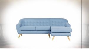 Canapé 3 personnes en polyester finition bleu ciel ambiance contemporaine, 226cm