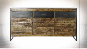 Buffet en enfilade à 3 portes en bois de manguier massif finition naturelle ambiance rustique, 170cm