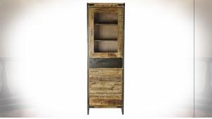 Vitrine colonne en acier noir et bois de manguier massif finition naturelle de style rustique, 190cm