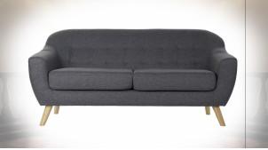 Canapé 3 personnes en polyester finition gris foncé de style contemporain, 170cm