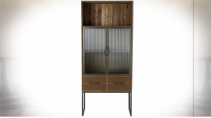Vitrine en bois finition naturelle vieillie, 2 portes en verre ondulé et métal noir de style rustique, 160cm